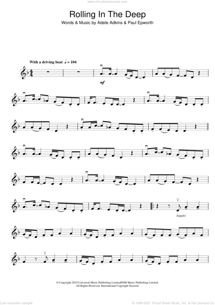 Rolling In The Deep sheet music for violin solo by Adele and Paul Epworth, intermediate skill level