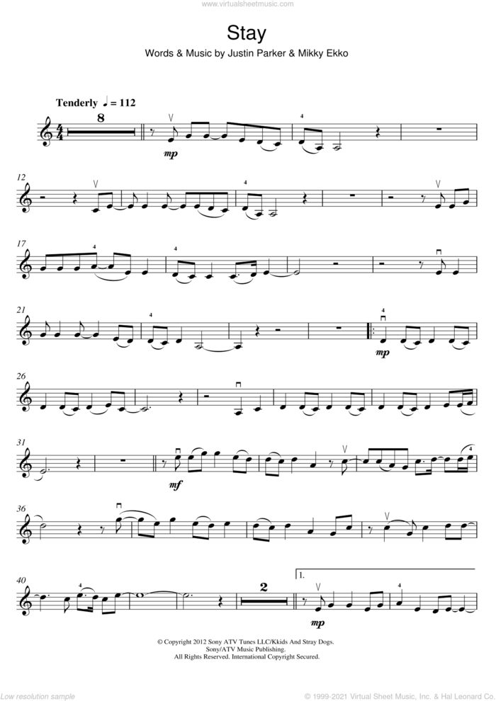 Stay sheet music for violin solo by Rihanna, Justin Parker and Mikky Ekko, intermediate skill level