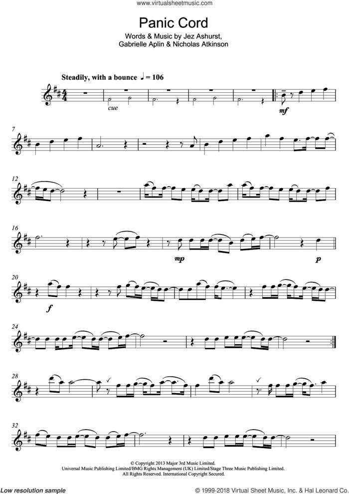 Panic Cord sheet music for flute solo by Gabrielle Aplin, Jez Ashurst and Nicholas Atkinson, intermediate skill level