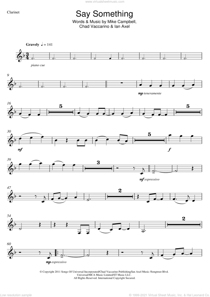 Say Something sheet music for clarinet solo by A Great Big World, Christina Aguilera, Chad Vaccarino, Ian Axel and Mike Campbell, intermediate skill level