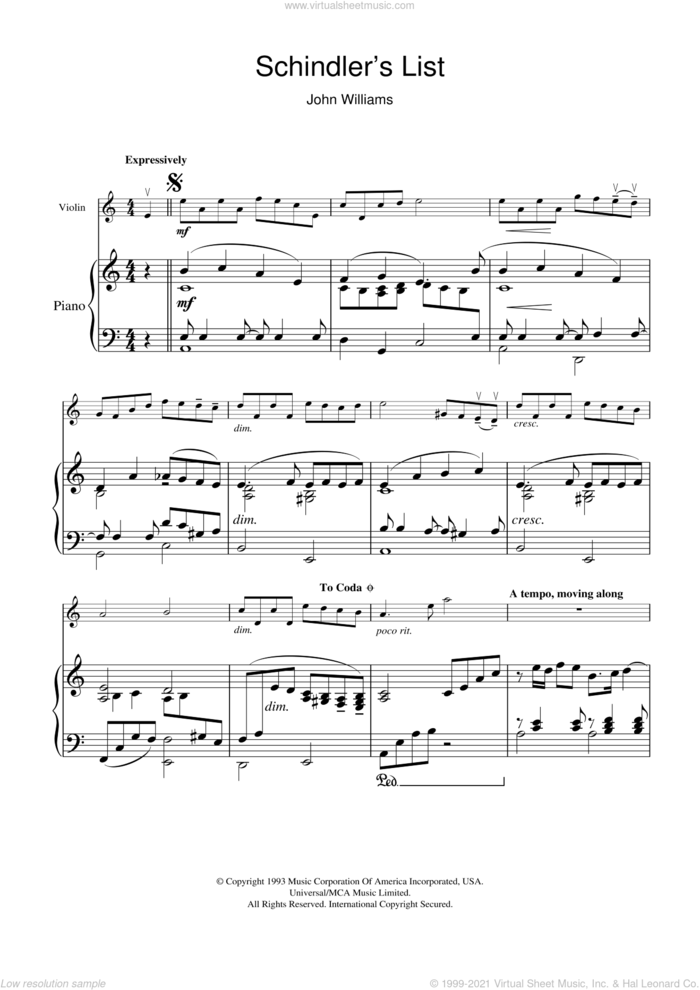 Theme From Schindler's List (simplified) sheet music for violin and piano by John Williams, intermediate skill level