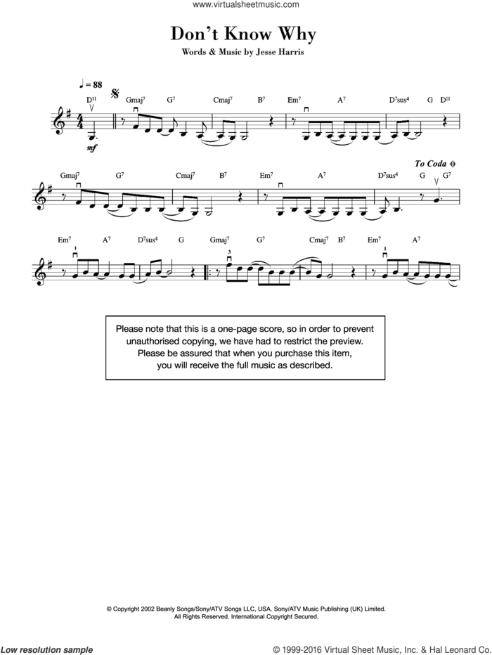 Don't Know Why sheet music for violin solo by Norah Jones and Jesse Harris, intermediate skill level