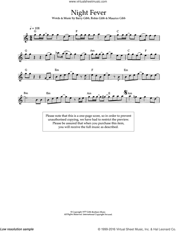 Night Fever sheet music for flute solo by Bee Gees, Barry Gibb, Maurice Gibb and Robin Gibb, intermediate skill level