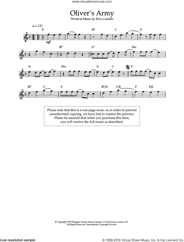 Oliver's Army sheet music for flute solo by Elvis Costello, intermediate skill level
