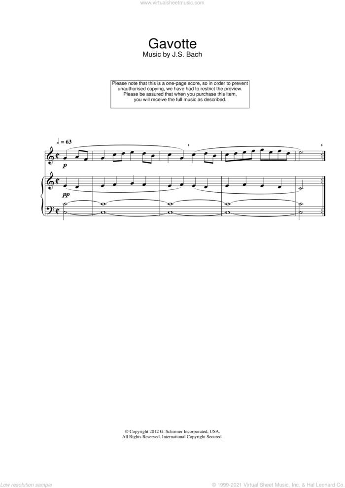 Gavotte sheet music for flute solo by Johann Sebastian Bach, classical score, intermediate skill level