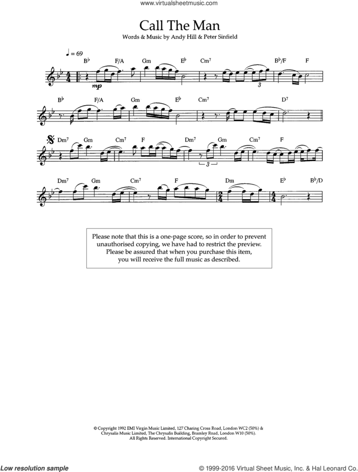 Call The Man sheet music for flute solo by Celine Dion, Andy Hill and Pete Sinfield, intermediate skill level
