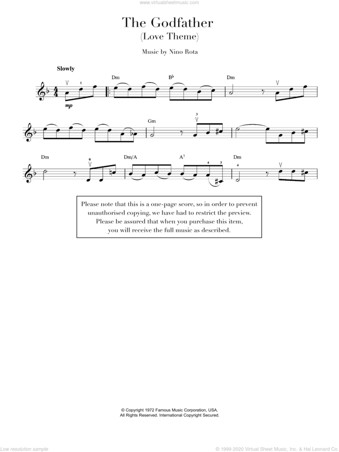 Theme from The Godfather sheet music for violin solo by Nino Rota, intermediate skill level
