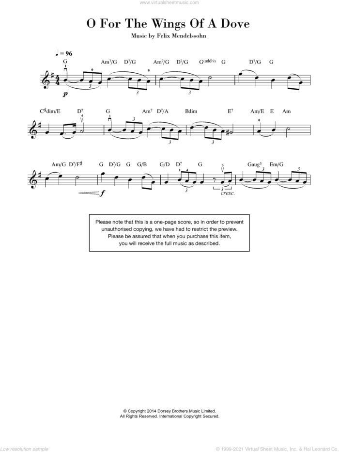 O For The Wings Of A Dove sheet music for violin solo by Felix Mendelssohn-Bartholdy, classical score, intermediate skill level