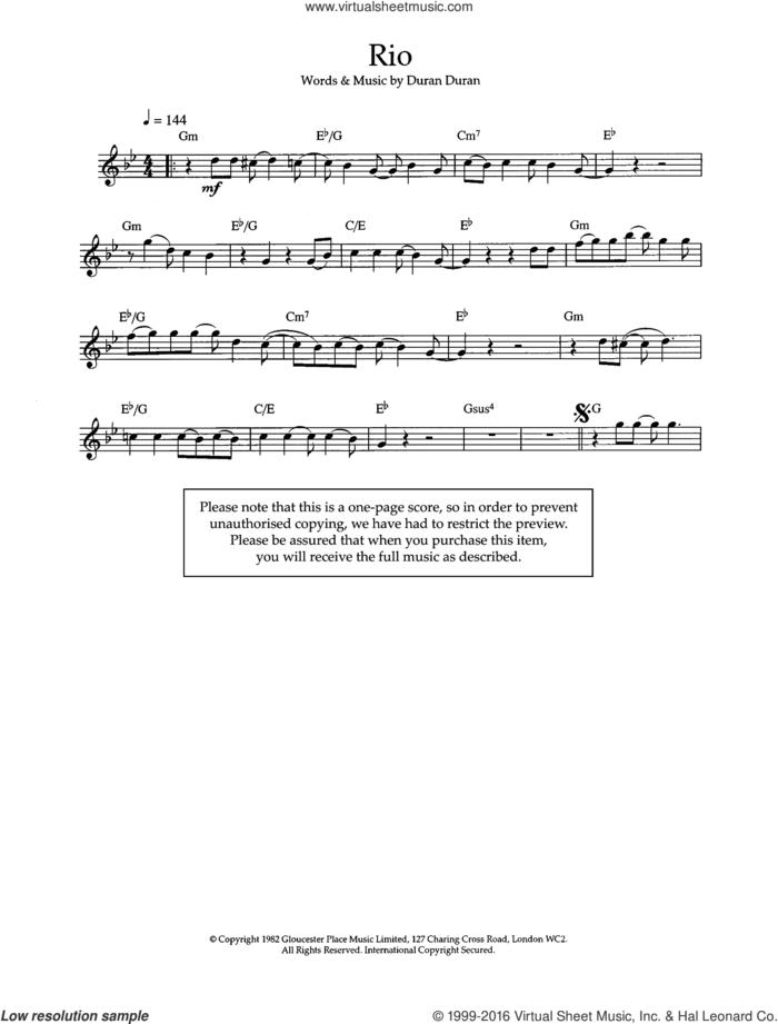 Rio sheet music for flute solo by Duran Duran, intermediate skill level