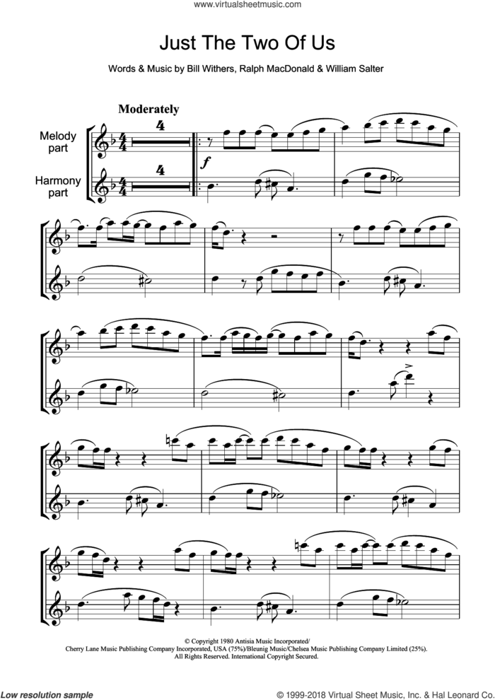 Just The Two Of Us sheet music for flute solo by Grover Washington Jr. feat. Bill Withers, Bill Withers, Ralph MacDonald and William Salter, intermediate skill level