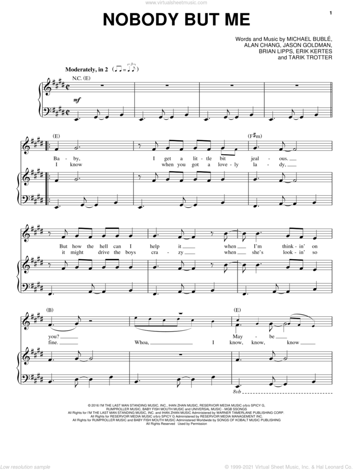 Nobody But Me sheet music for voice, piano or guitar by Michael Buble, Alan Chang, Bryan Lipps, Eric Kertes, Jason Goldman and Tarik Trotter, intermediate skill level
