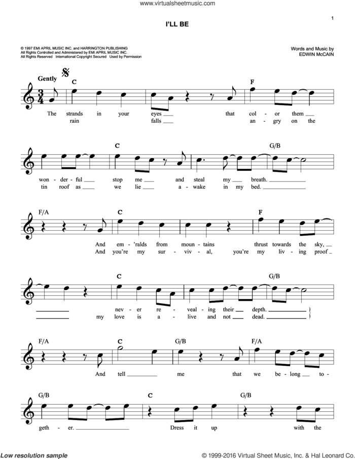 I'll Be sheet music for voice and other instruments (fake book) by Edwin McCain, intermediate skill level