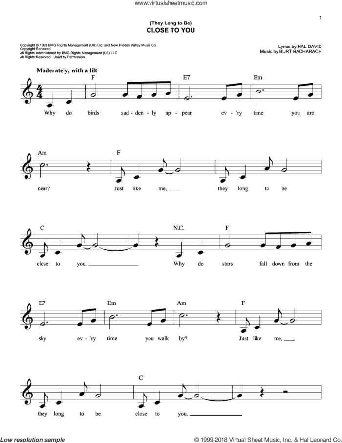 (They Long To Be) Close To You sheet music for voice and other instruments (fake book) by Carpenters, Burt Bacharach and Hal David, intermediate skill level