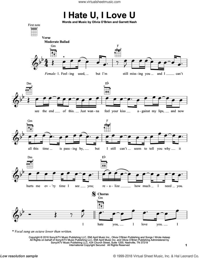 I Hate U, I Love U sheet music for ukulele by Gnash and Garrett Nash, intermediate skill level