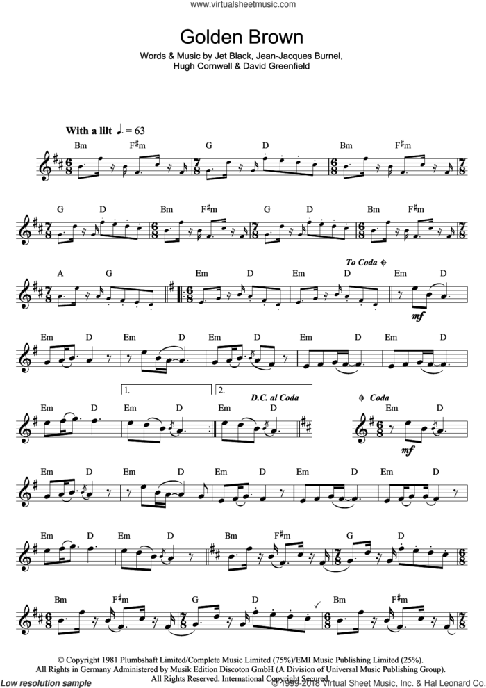 Golden Brown sheet music for flute solo by The Stranglers, David Greenfield, Hugh Cornwell, Jean-Jacques Burnel and Jet Black, intermediate skill level