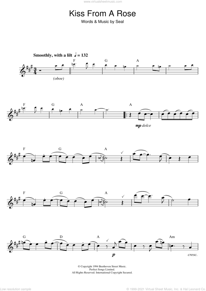 Kiss From A Rose sheet music for saxophone solo by Manuel Seal, intermediate skill level