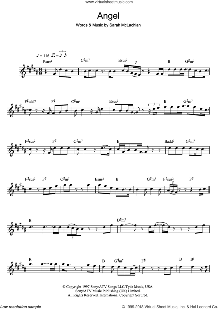 Angel sheet music for flute solo by Sarah McLachlan, intermediate skill level