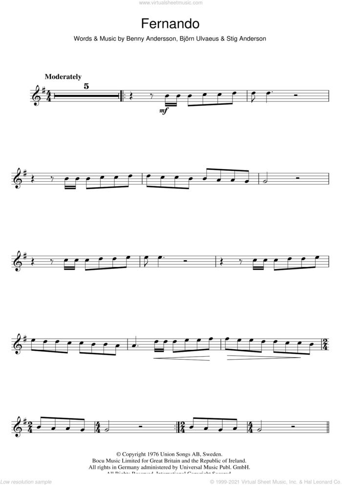 Fernando sheet music for flute solo by ABBA, Benny Andersson, Bjorn Ulvaeus and Stig Anderson, intermediate skill level