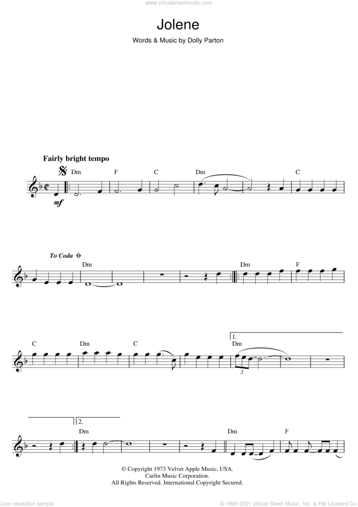 Jolene sheet music for flute solo by Dolly Parton, intermediate skill level