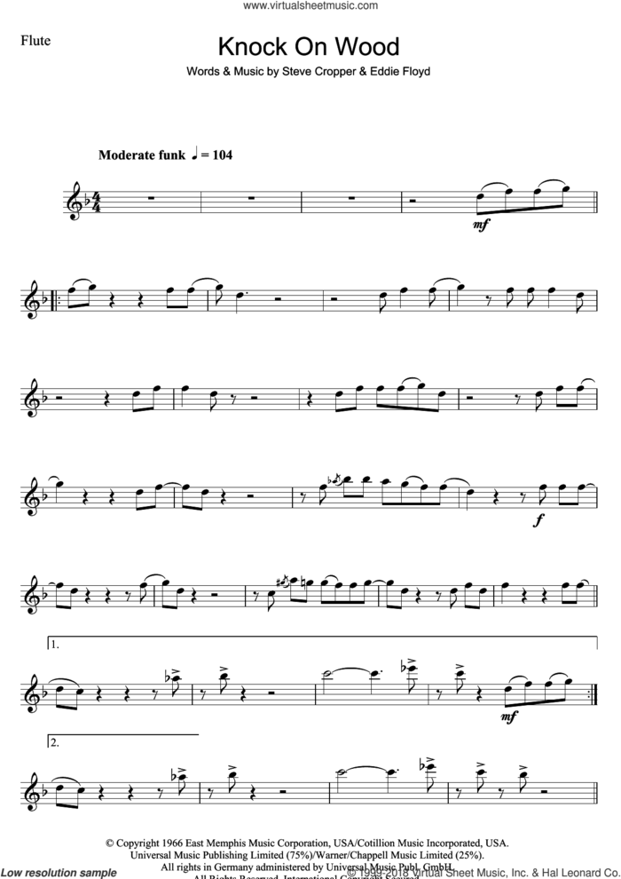 Knock On Wood sheet music for flute solo by Eddie Floyd and Steve Cropper, intermediate skill level