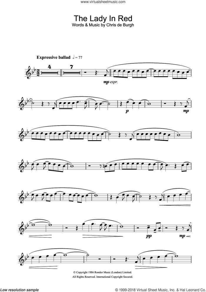 The Lady In Red sheet music for flute solo by Chris de Burgh, intermediate skill level