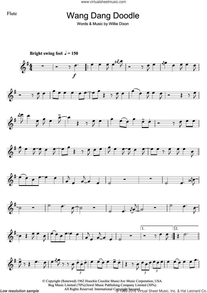 Wang Dang Doodle sheet music for flute solo by Koko Taylor and Willie Dixon, intermediate skill level
