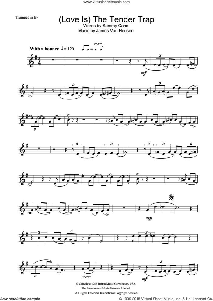 (Love Is) The Tender Trap sheet music for trumpet solo by Frank Sinatra, Jimmy Van Heusen and Sammy Cahn, intermediate skill level
