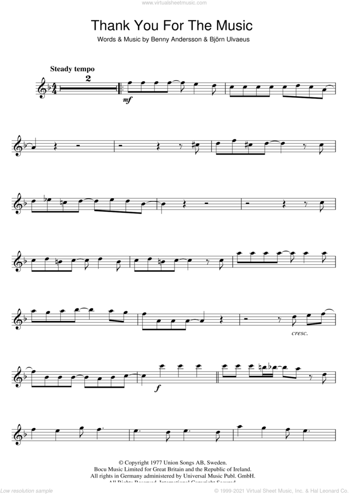 Thank You For The Music sheet music for flute solo by ABBA, Benny Andersson and Bjorn Ulvaeus, intermediate skill level