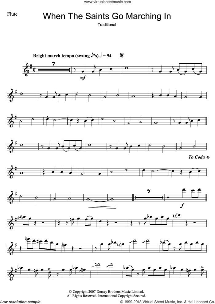 When The Saints Go Marching In sheet music for flute solo by Louis Armstrong and Miscellaneous, intermediate skill level