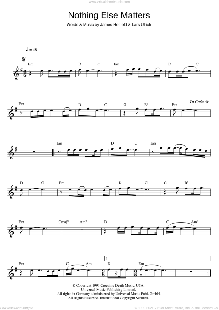Nothing Else Matters sheet music for flute solo by Metallica, James Hetfield and Lars Ulrich, intermediate skill level