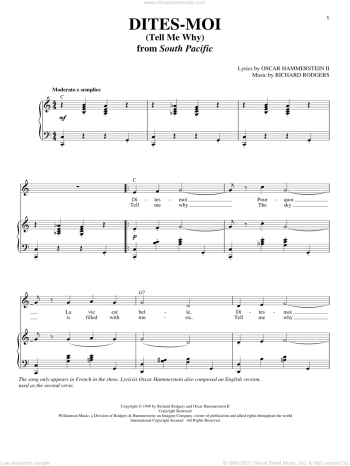 Dites-Moi (Tell Me Why) sheet music for voice and piano by Rodgers & Hammerstein, Oscar II Hammerstein and Richard Rodgers, intermediate skill level