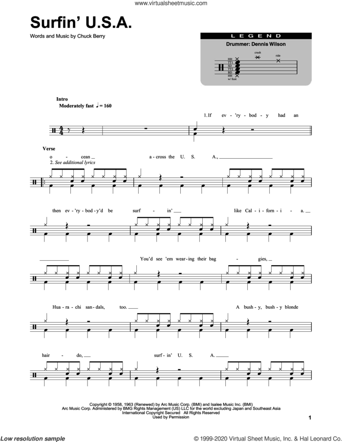 Surfin' U.S.A. sheet music for drums by The Beach Boys and Chuck Berry, intermediate skill level