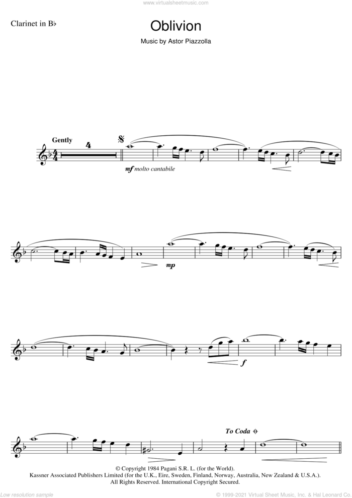 Oblivion sheet music for clarinet solo by Astor Piazzolla, intermediate skill level