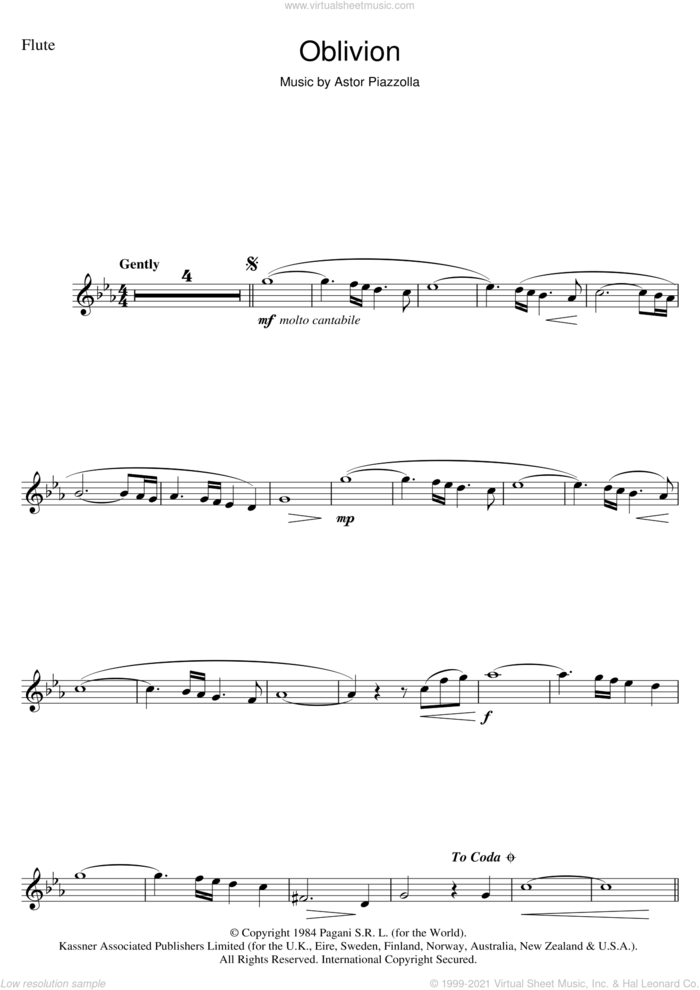 Oblivion sheet music for flute solo by Astor Piazzolla, intermediate skill level