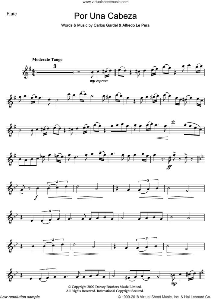 Por Una Cabeza sheet music for flute solo by Carlos Gardel and Alfredo Le Pera, intermediate skill level