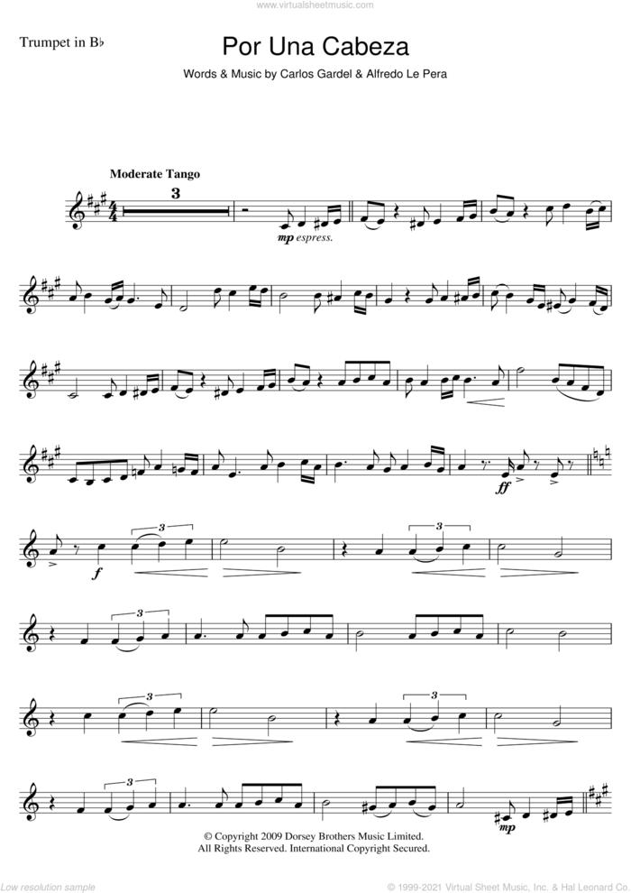 Por Una Cabeza sheet music for trumpet solo by Carlos Gardel and Alfredo Le Pera, intermediate skill level