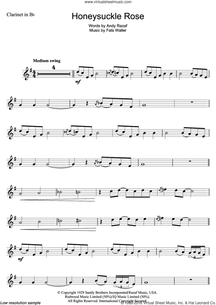 Honeysuckle Rose sheet music for clarinet solo by Andy Razaf and Thomas Waller, intermediate skill level
