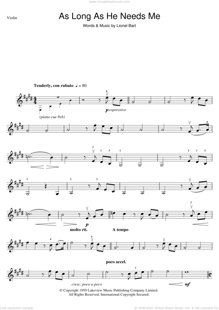 As Long As He Needs Me (from Oliver!) sheet music for violin solo by Lionel Bart and Oliver!, intermediate skill level