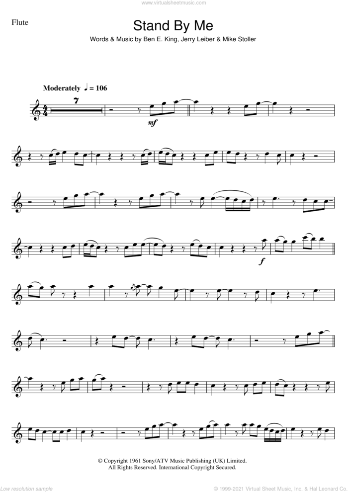 Stand By Me sheet music for flute solo by Ben E. King, Jerry Leiber and Mike Stoller, intermediate skill level