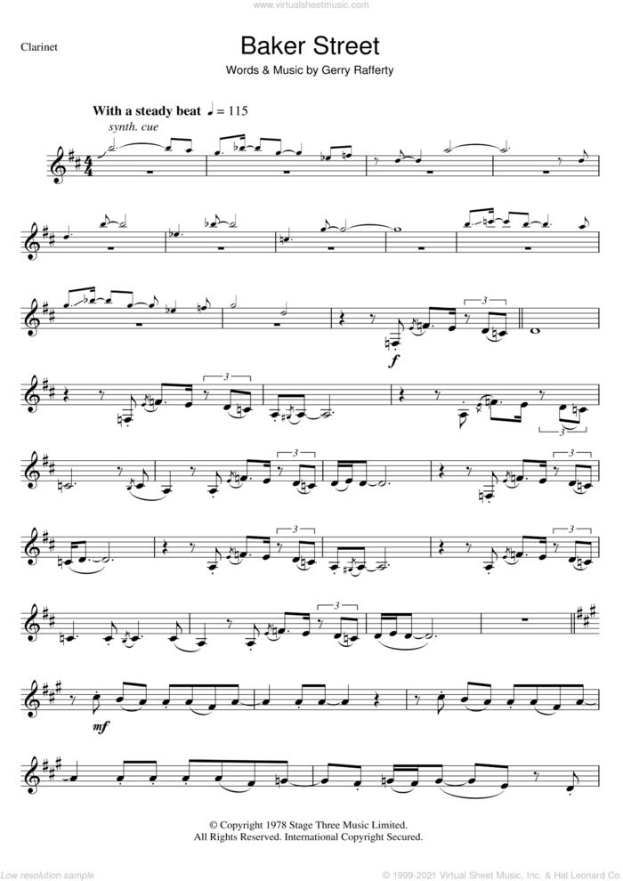 Baker Street sheet music for clarinet solo by Gerry Rafferty, intermediate skill level