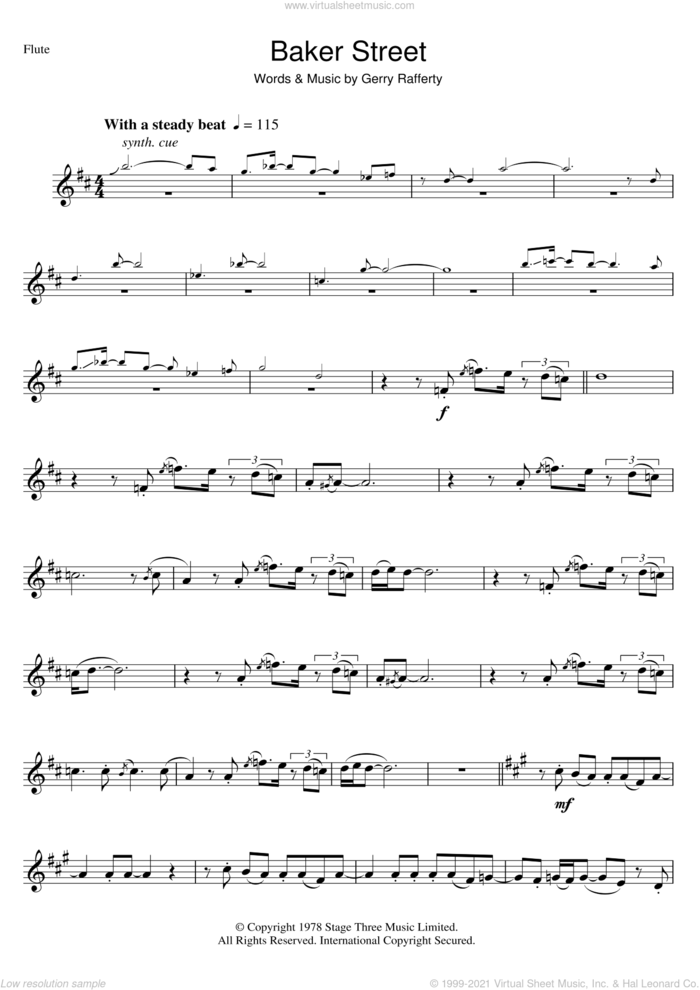 Baker Street sheet music for flute solo by Gerry Rafferty, intermediate skill level