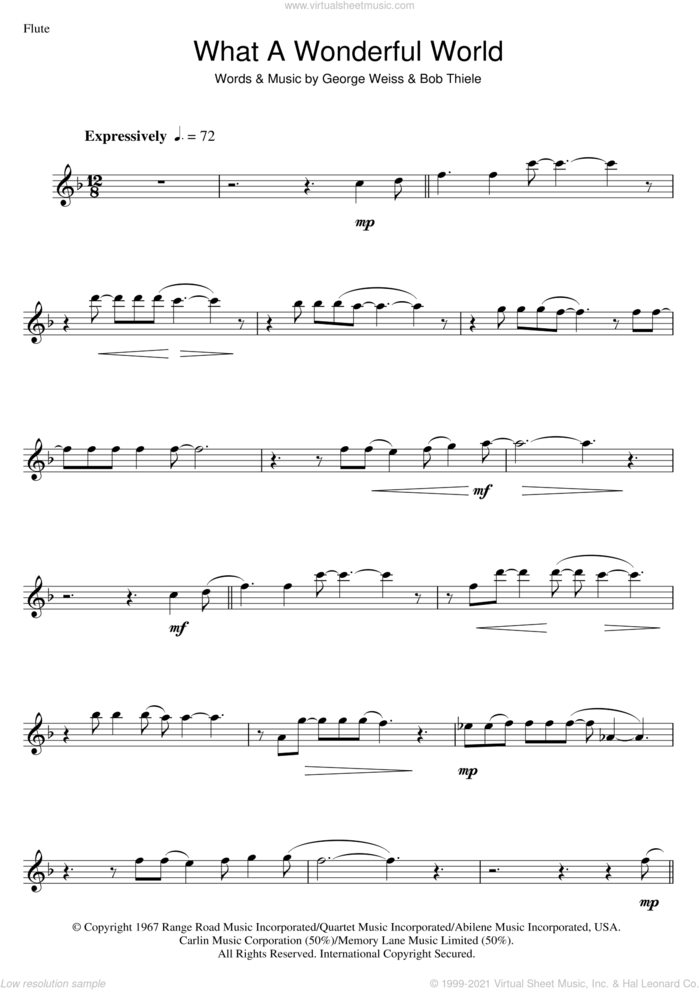 What A Wonderful World sheet music for flute solo by Louis Armstrong, Bob Thiele and George David Weiss, intermediate skill level