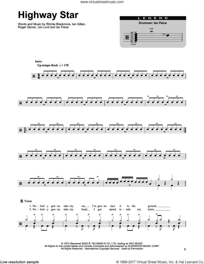 Highway Star sheet music for drums by Deep Purple, Ian Gillan, Ian Paice, Jon Lord, Ritchie Blackmore and Roger Glover, intermediate skill level