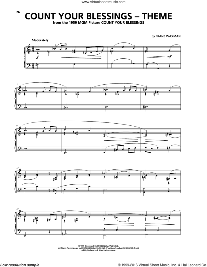 Count Your Blessings (Theme) sheet music for piano solo by Franz Waxman, intermediate skill level
