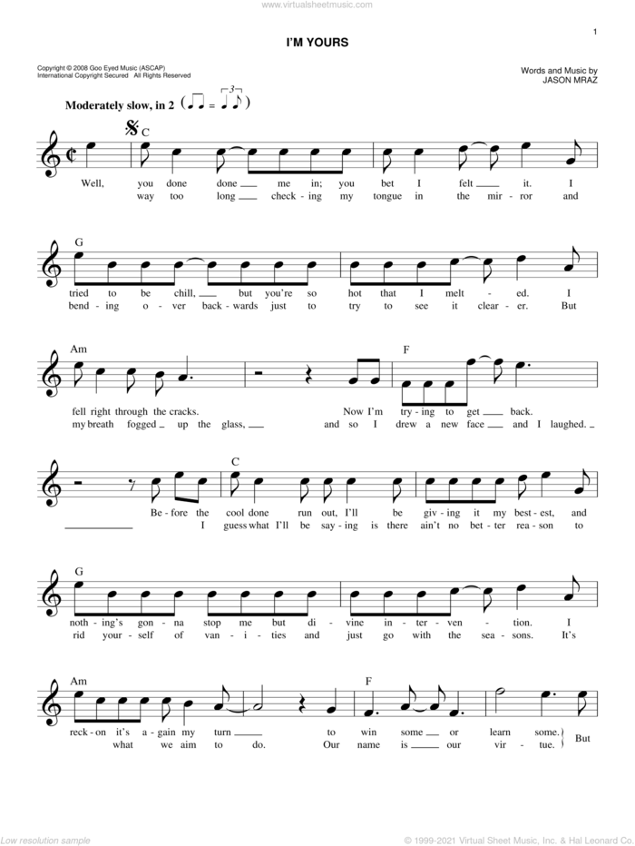 I'm Yours sheet music for voice and other instruments (fake book) by Jason Mraz, intermediate skill level