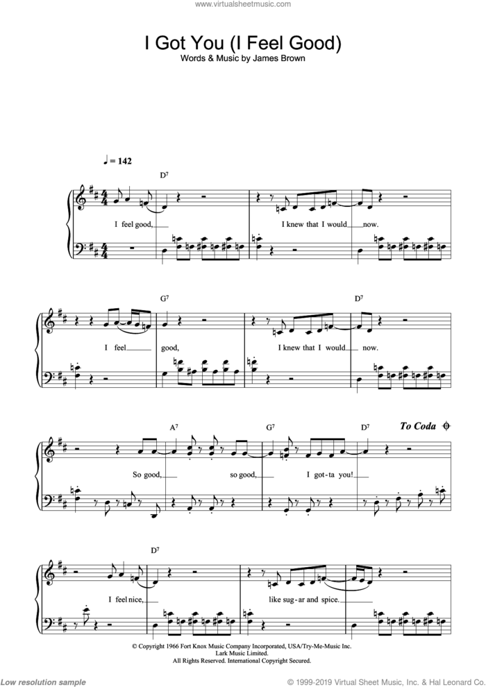 I Got You (I Feel Good) sheet music for piano solo (beginners) by James Brown, beginner piano (beginners)