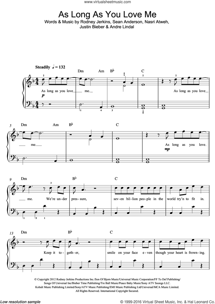 As Long As You Love Me (featuring Big Sean) sheet music for voice, piano or guitar by Justin Bieber, Big Sean, Andre Lindal, Nasri Atweh, Rodney Jerkins and Sean Anderson, intermediate skill level