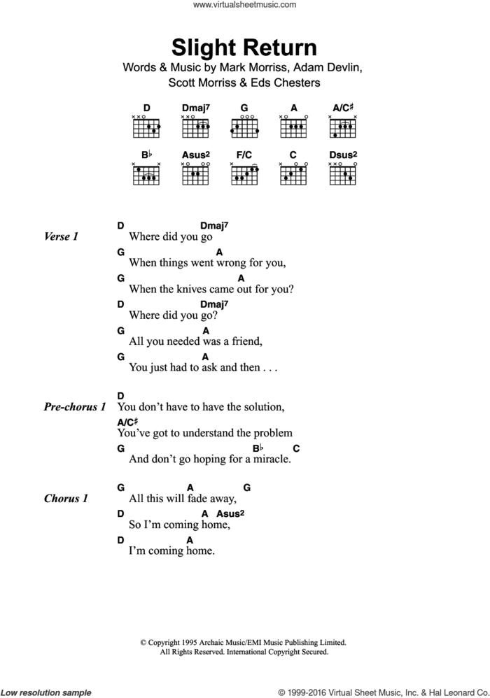 Slight Return sheet music for guitar (chords) by The Bluetones, Adam Devlin, Eds Chesters, Mark Morriss and Scott Morriss, intermediate skill level