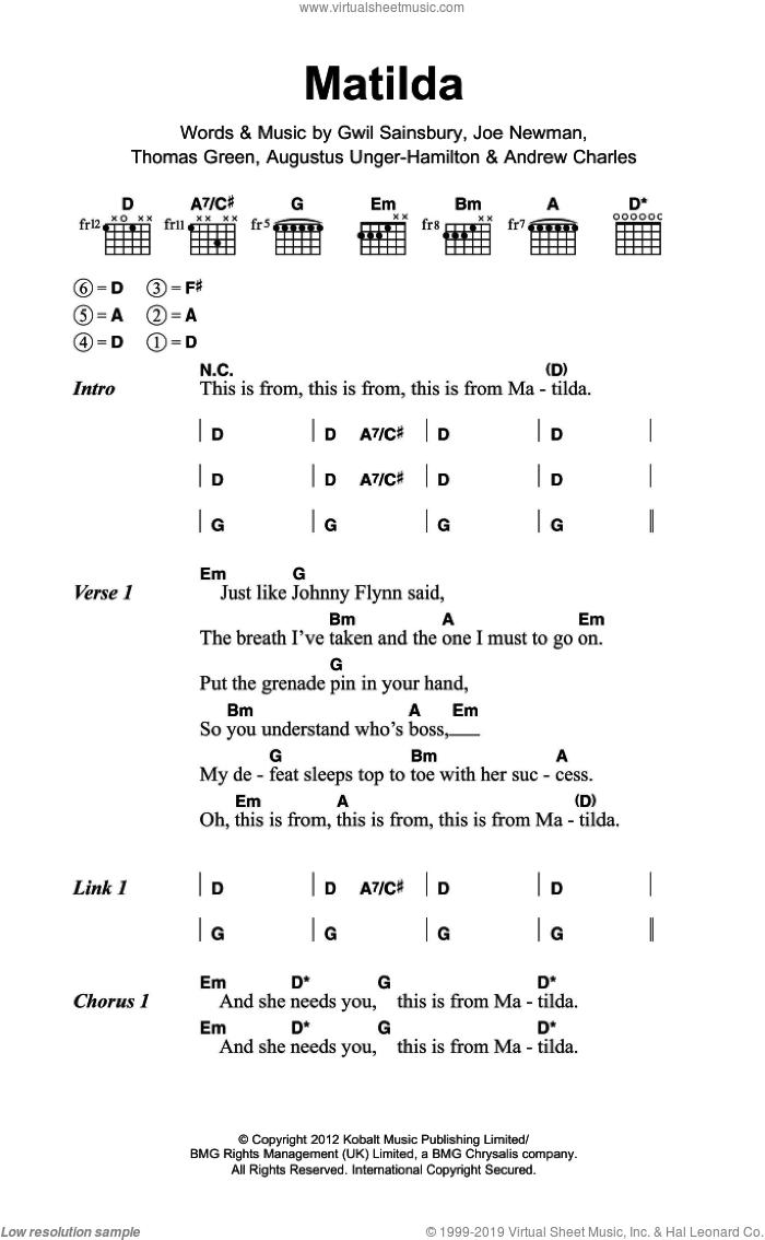 Matilda sheet music for guitar (chords) by Alt-J, Andrew Charles, Augustus Unger-Hamilton, Gwil Sainsbury, Joe Newman and Thomas Green, intermediate skill level