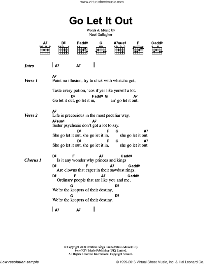 Go Let It Out sheet music for guitar (chords) by Oasis and Noel Gallagher, intermediate skill level